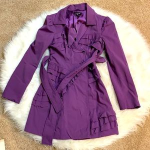 Belted trench with ruffles